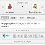 Прогноз на матч Эспаньол-Реал Мадрид 27.02.2018