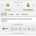 Прогноз на матч Леганес-Реал Мадрид 21.02.2018