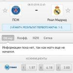 Прогноз на матч ПСЖ-Реал Мадрид 06.03.2018