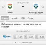 Прогноз на матч Тосно-Авангард 09.08.2018