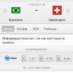 Прогноз на матч Бразилия-Швейцария 17.06.2018