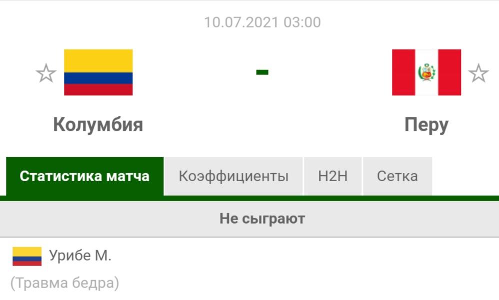 Прогноз на матч Колумбия - Перу