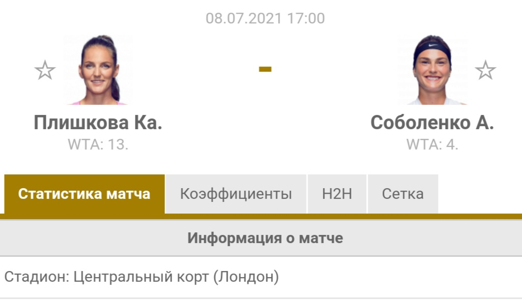 Прогноз на матч Плишкова-Соболенко